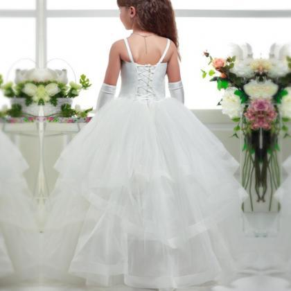 White Pink ball gown, Tulle flower ..