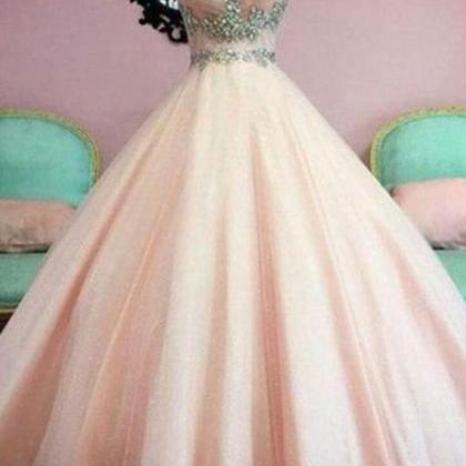 Ball Gown Illuion Scoop Crystals Be..