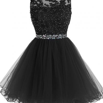Sexy Black Short Prom Dress Lace Pr..