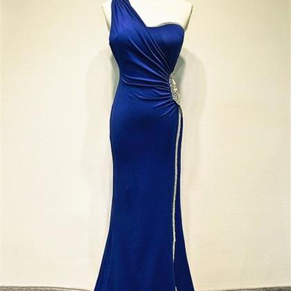 Royal Blue Mermaid Chiffon Prom Dre..