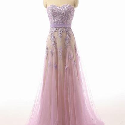 Sweetheart Neck Long Tulle Prom Dre..