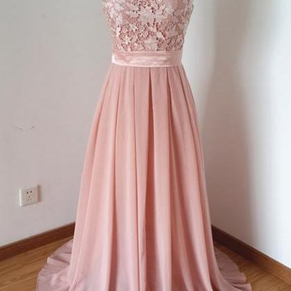 Scoop Beaded Chiffon Long Prom Dres..