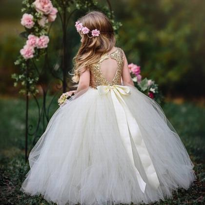 Princess Lace Flower Girls Dress Go..