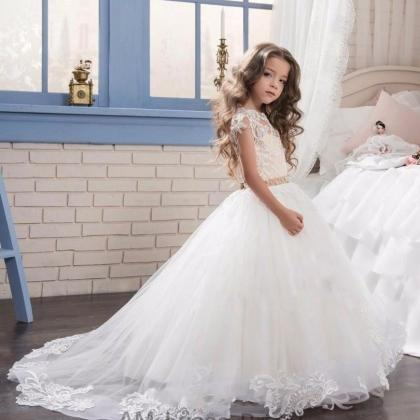 New Lace Ball Gown Kids Flower Girl..