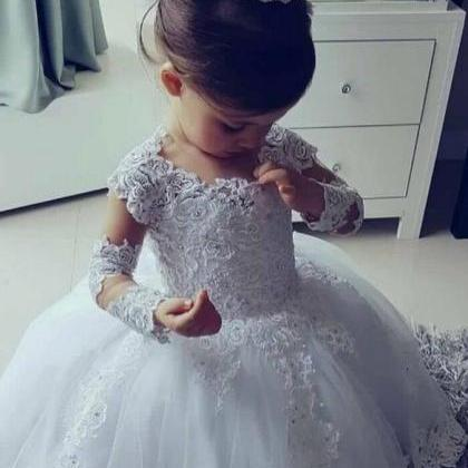 2019 Long Sleeve White Ball Gown Pr..