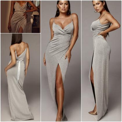 Deep V Neck Sexy Party Dresses with..