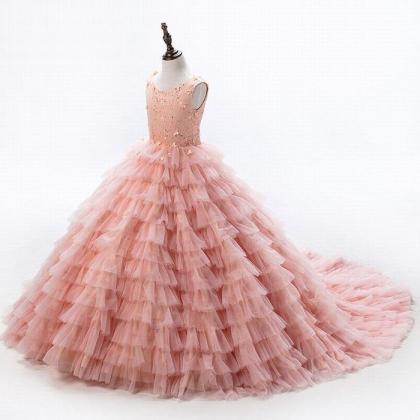 Baby Peach Pageant Dresses For Girl..