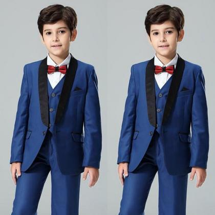 Navy Blue Boy's Formal Wear Shawl L..