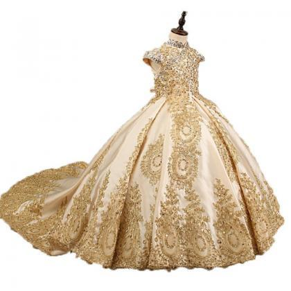 Golden Retro Flower Girl Dresses Fo..