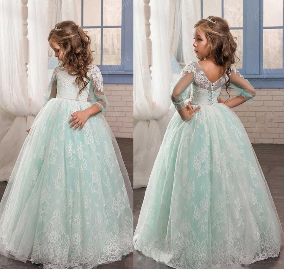 Light Green Princess Gowns Pageant Flower Girl Dresses Kids Birthday ...