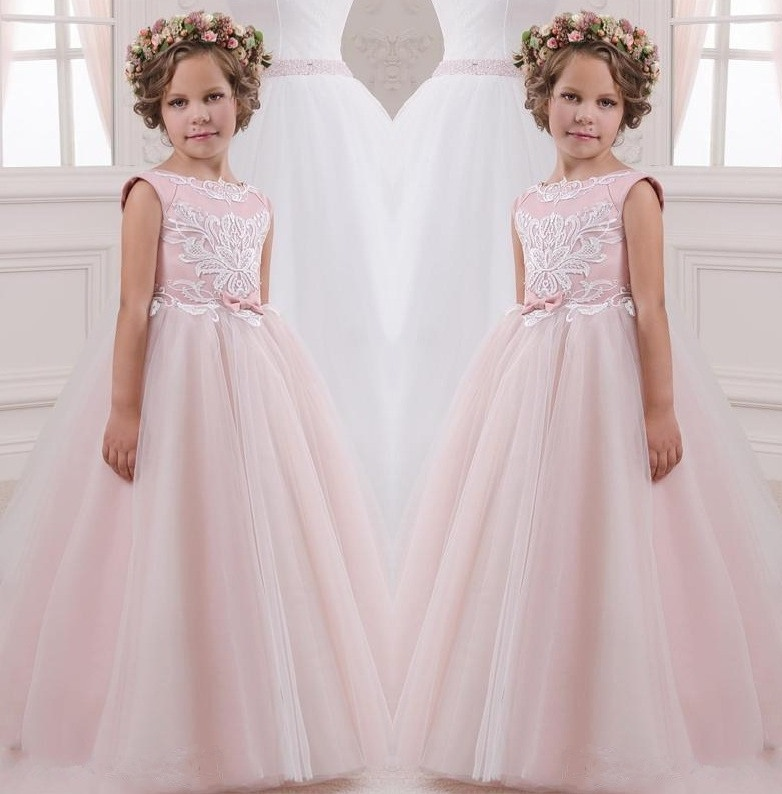 Pink Princess Gowns Kids Pageant Flower Girl Dresses Kids Birthday ...