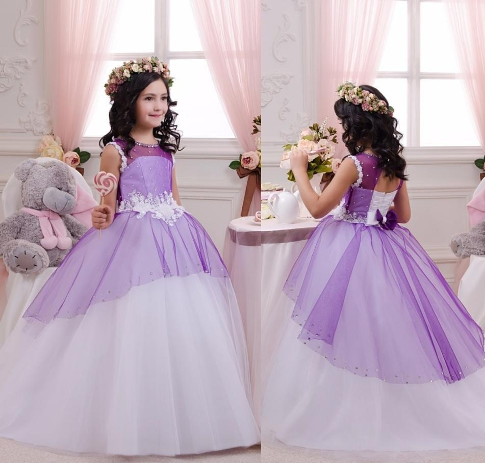 098031c6dd24 Purple Tull Kids Princess Gowns Pageant Flower Girl Dresses Kids Birthday  Dress Bridesmaid Wedding Party Dresses 49