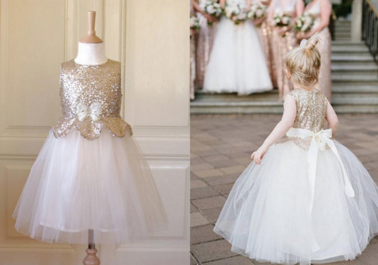 Princess Gowns Adorable Sequins Long Ivory Flower Girl Dress 162
