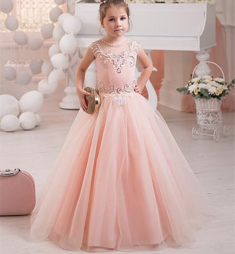 Pink Princess Gowns Kids Baby Girl Birthday Wedding Party Formal ...