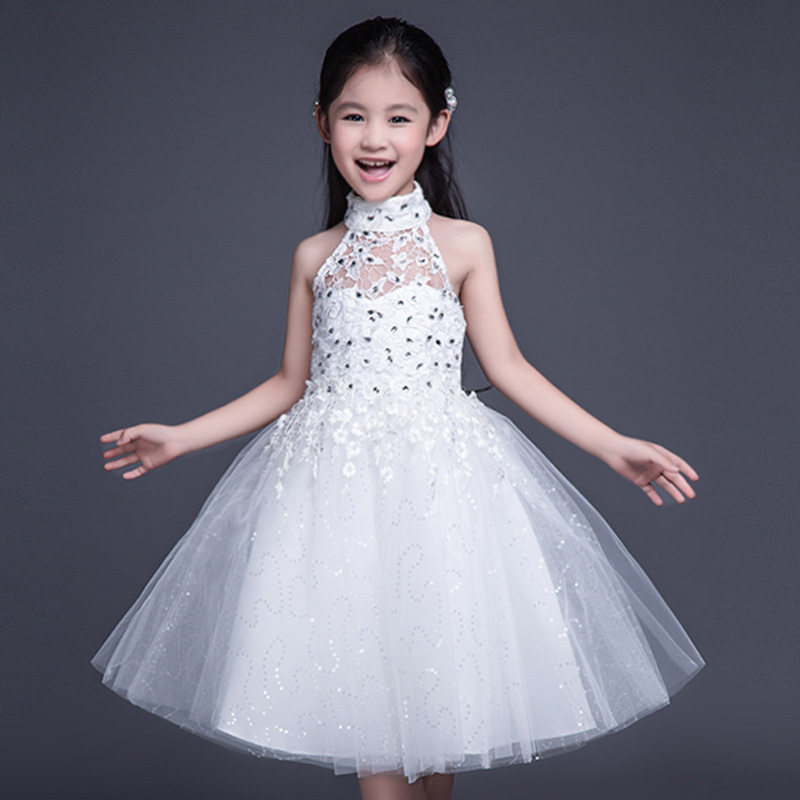 Halter Princess Gowns Baby Girl Birthday Wedding Party Formal Flower