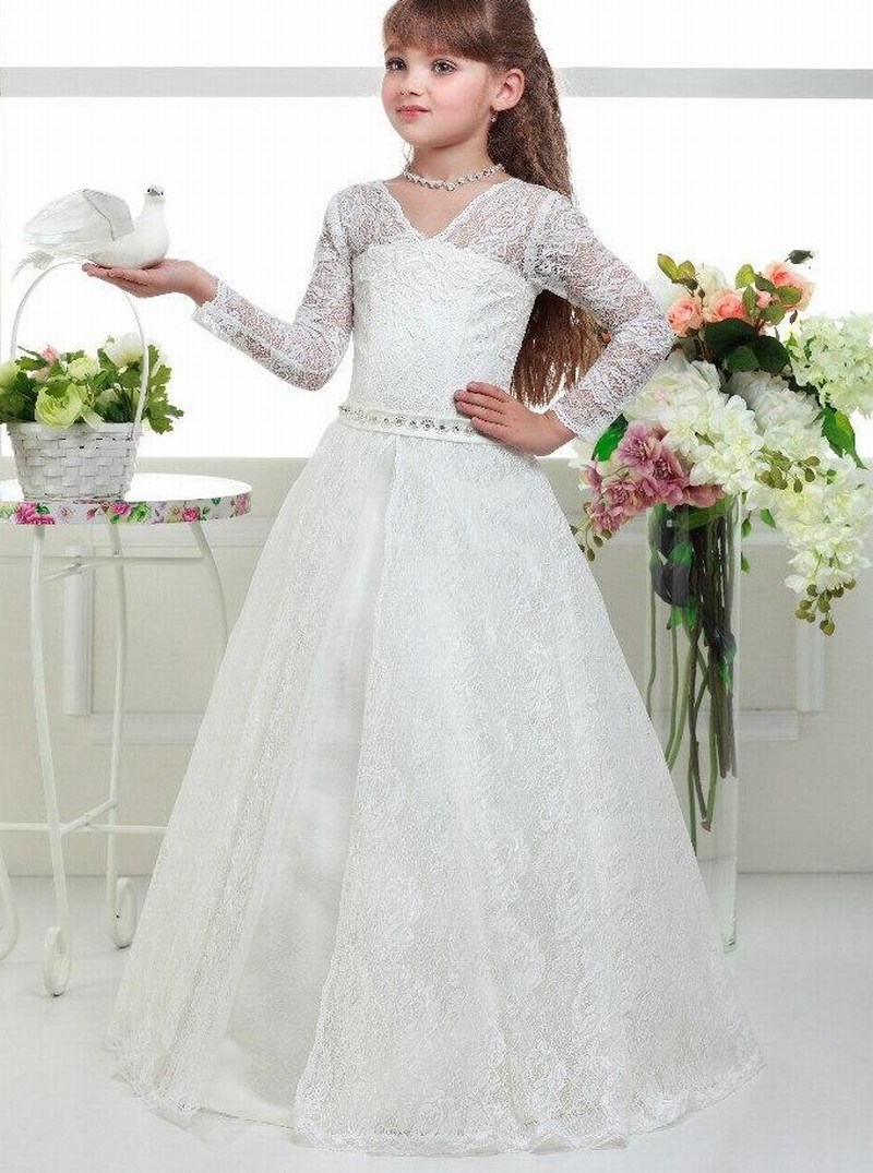 4cd00d7e6ada1 Long Sleeve Lace Custom Made Baby Girl Birthday Wedding Party Formal Flower  Girls Dress Baby Pageant Dresses 206