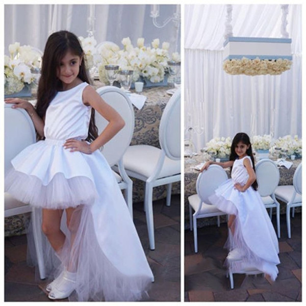 6241d977f39 Hi-Lo Satin Birthday Wedding Party Formal Flower Girls Dress baby Pageant  dresses 310