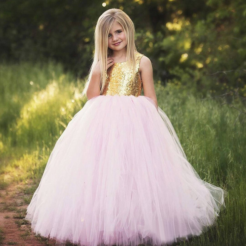 Golden Sequin Girl Birthday Wedding Party Formal Flower Girls Dress baby Pageant dresses 357