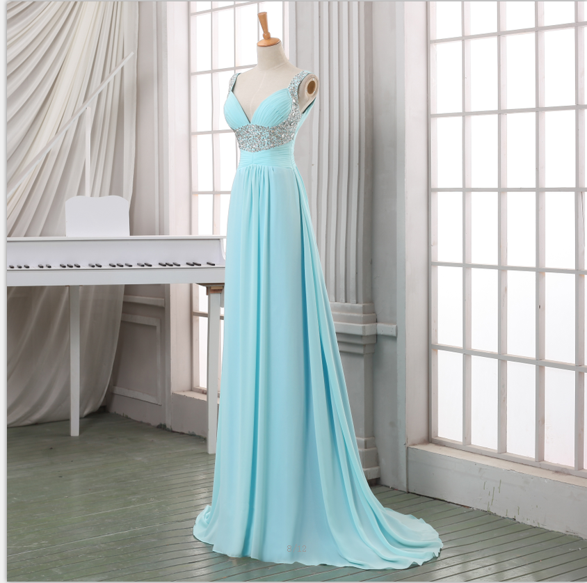 Light Blue V-neck Sleeveless Ruched Beaded Chiffon Long Prom Dress, Evening Dress Featuring Lace-Up Back