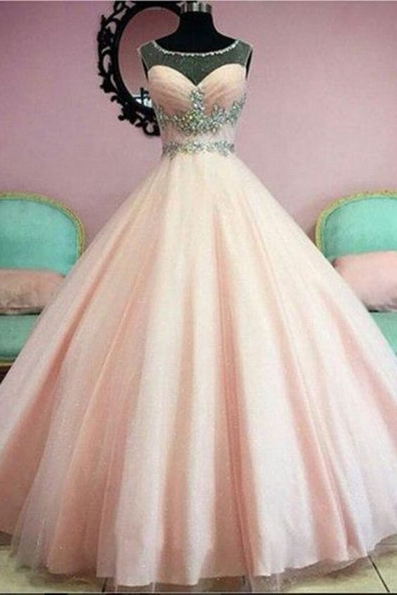 Ball Gown Illuion Scoop Crystals Beads Tulle Prom Dress Ball Gown Quinceanera Dress for Juniors