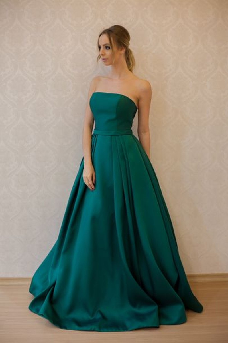 Green Prom Dress Elegant Emerald Satin Prom Dresses Ball Gown Simple ...
