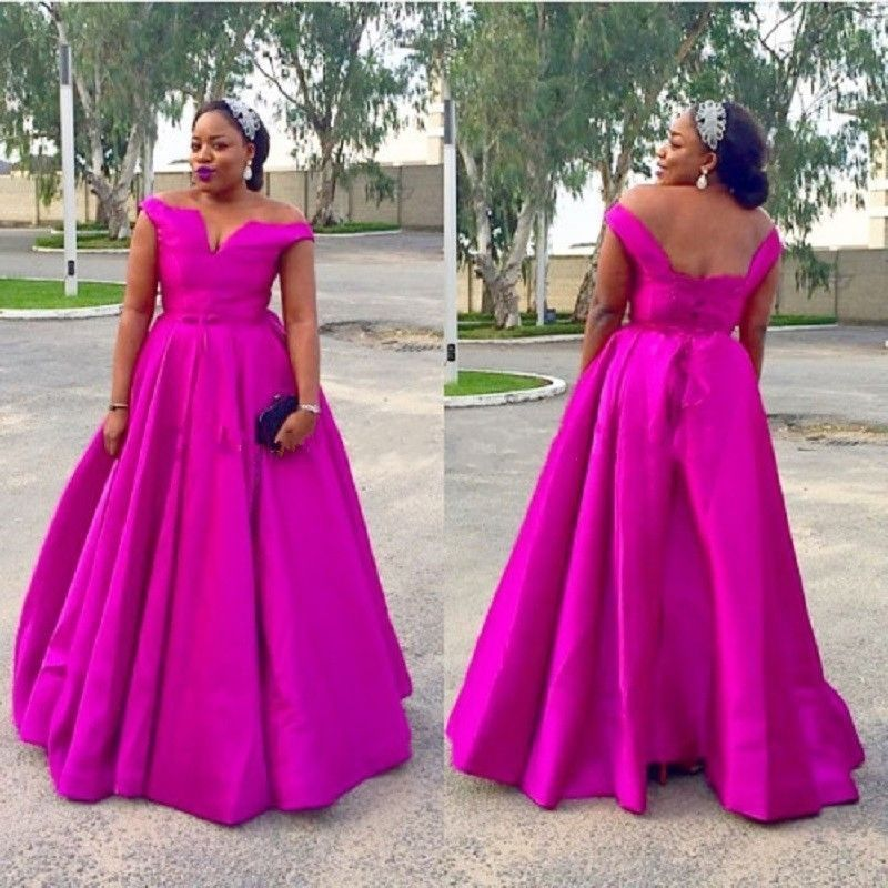 Plus Size Fuchsia Evening Dresses Long Prom Wedding Party Pageant ...