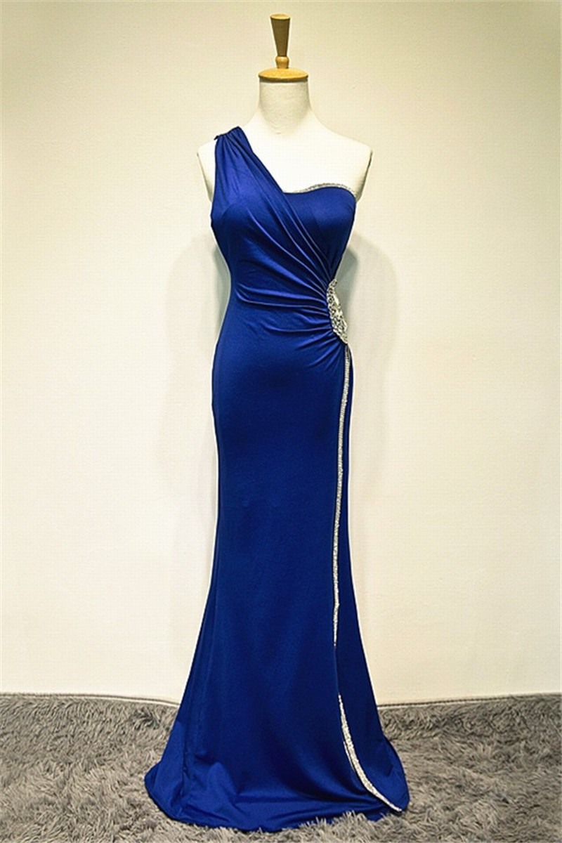 Royal Blue Mermaid Chiffon Prom Dresses One Shoulder Women Party Dresses