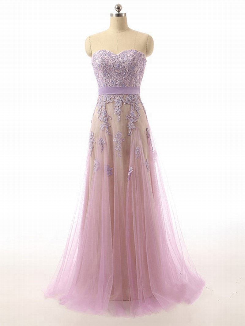 Sweetheart Neck Long Tulle Prom Dresses Lace Appliques Women Dresses