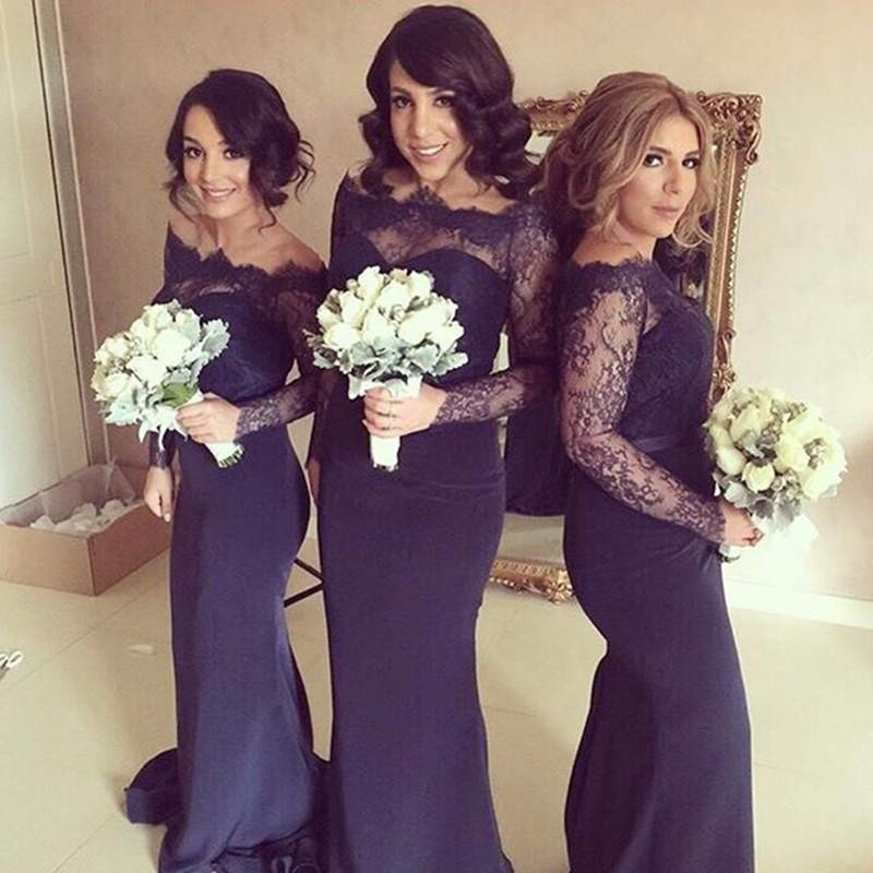 Plus Size Bridesmaid Dresses Sleeves Long Chiffon Sheer Lace Off The  Shoulder Trumpet Mermaid Style Custom efe34ee10e99