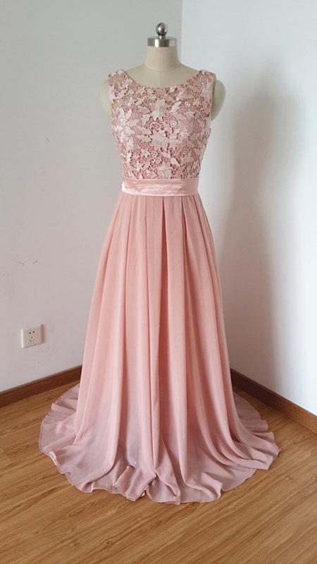 Scoop Beaded Chiffon Long Prom Dress evening Long Dress.bridesmaid dress