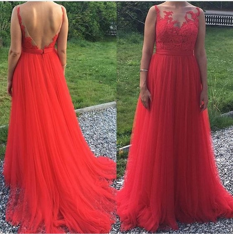 Charming Prom Dress Tulle Prom Dress Appliques Prom Dress Backless Evening Dress