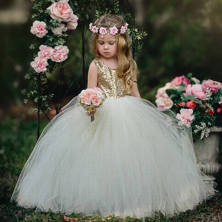 Princess Lace Flower Girls Dress Golden Sequin Ball Gown Tulle Cheap China First Communion Dresses ytz253