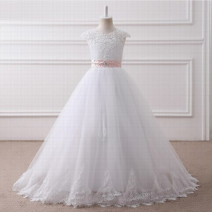 real photo Ball Gown Long Flower Girl Dresses Princess White Tulle Lace Girls Dresses st05