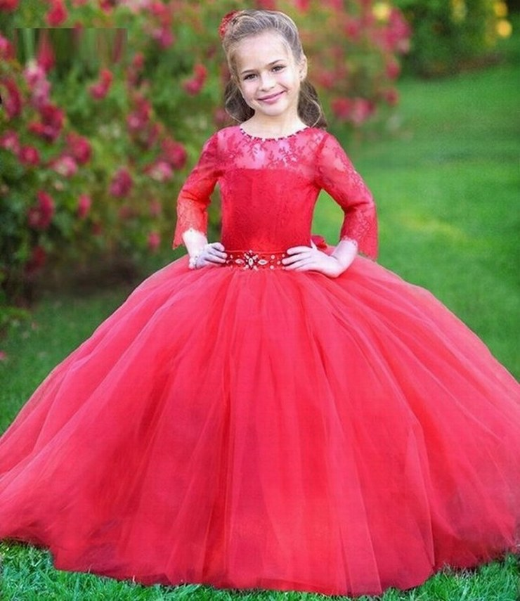 Ball Gown Dresses For Girls New Arrival 34 Sleeve Lace Flower Girl Dress Red Puffy Tulle Party Gowns Long st40 (1)