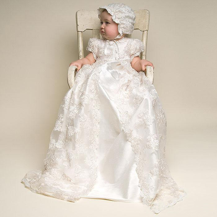 9731bd101f68 3pcs Vintage Christening Dress For Baby Long Girl Baptism Gown First ...