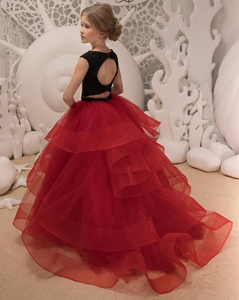 82547034a0f Black Lace Red Ruffle Tulle Cute Kids Flower Girl Dress First Communion  Dresses Birthday Wedding party Bridesmaid Holiday Princess Gown Two Pieces  50