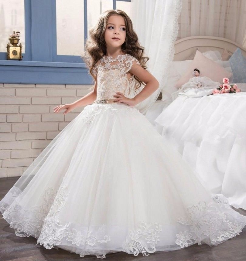 New Lace Ball Gown Kids Flower Girl Dresses Kids Birthday Weddings Holy Communion Gowns 97
