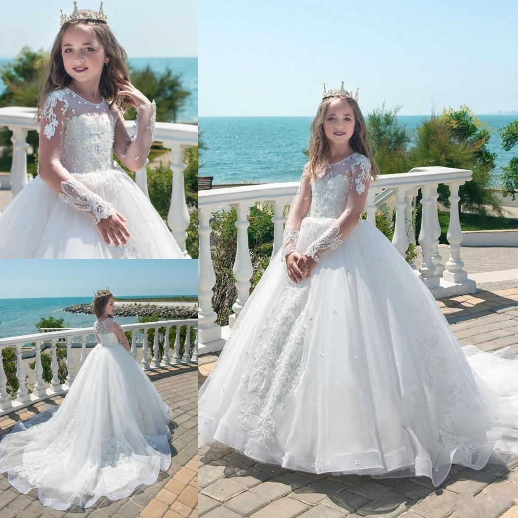 c30ab0db84 Holy White Princess Ball Gown Flower Girl Dresses Sheer Long Sleeves  Appliques Beaded Luxury Girls Formal Wear Gowns Summer Party Dress 107