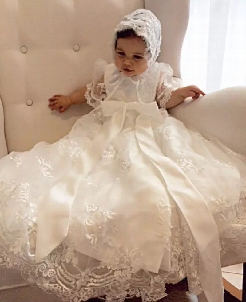 22ab34807 with hat Lovely Baby Girl Baptism Gown Christening Dress Lace beaded  0-24month Baby Boy