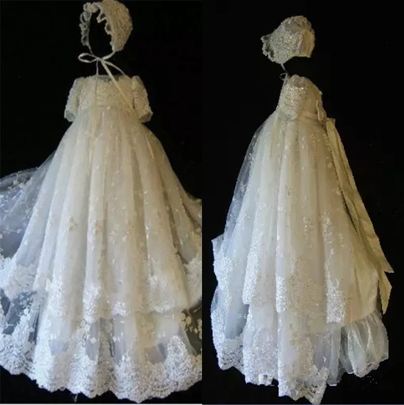with hat First Communion Dresses Sequins Lace Applique Edge Two Layer Ankle  Length Short Sleeves Baptism Outfits Formal Infant Girl Wear With Bonnet 139 dbb3e3dd4eb9