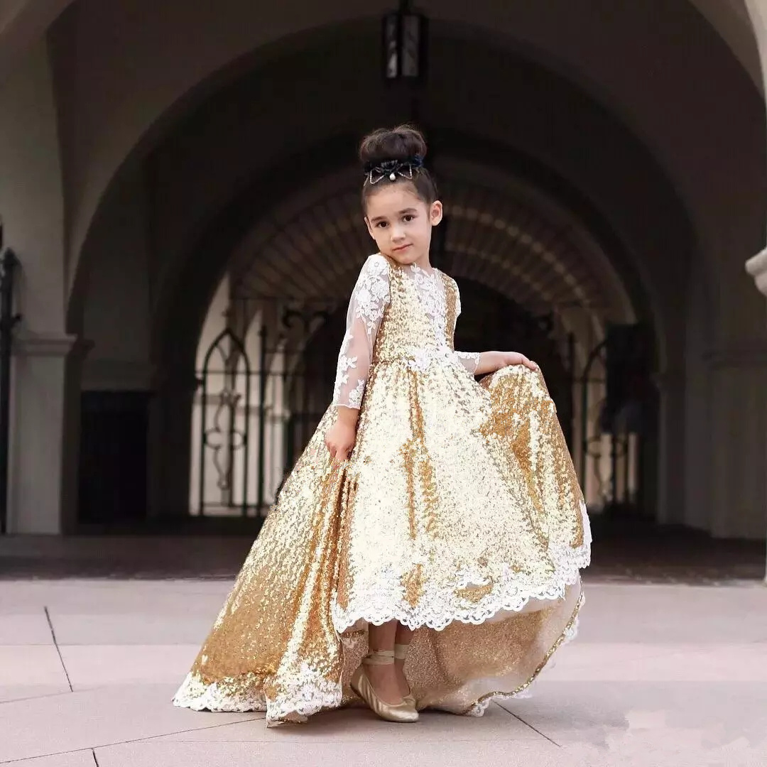927ca27b Blingbling Gold Sequins Flower Girl Dresses White Lace Appliques Long  Sleeve Girls Pageant Dress for Child Birthday Dresses Jewel Neck Sweep  Train 155-2