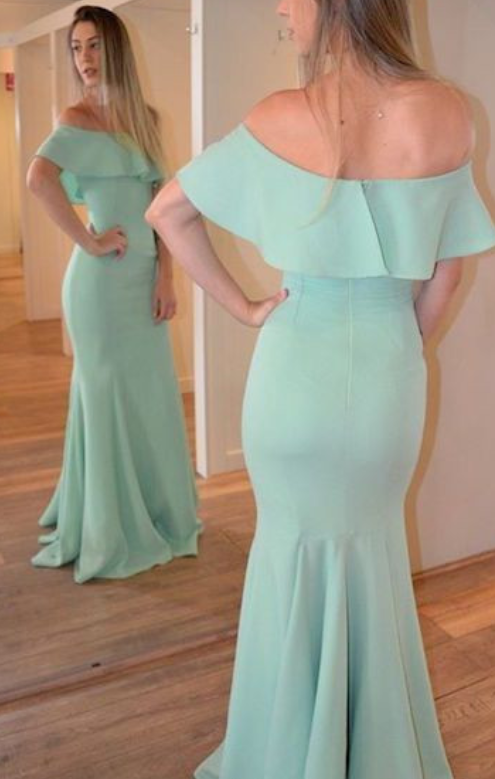 Custom Made Off the Shoulder Green Chiffon Long Prom Evening Dress Party Dress
