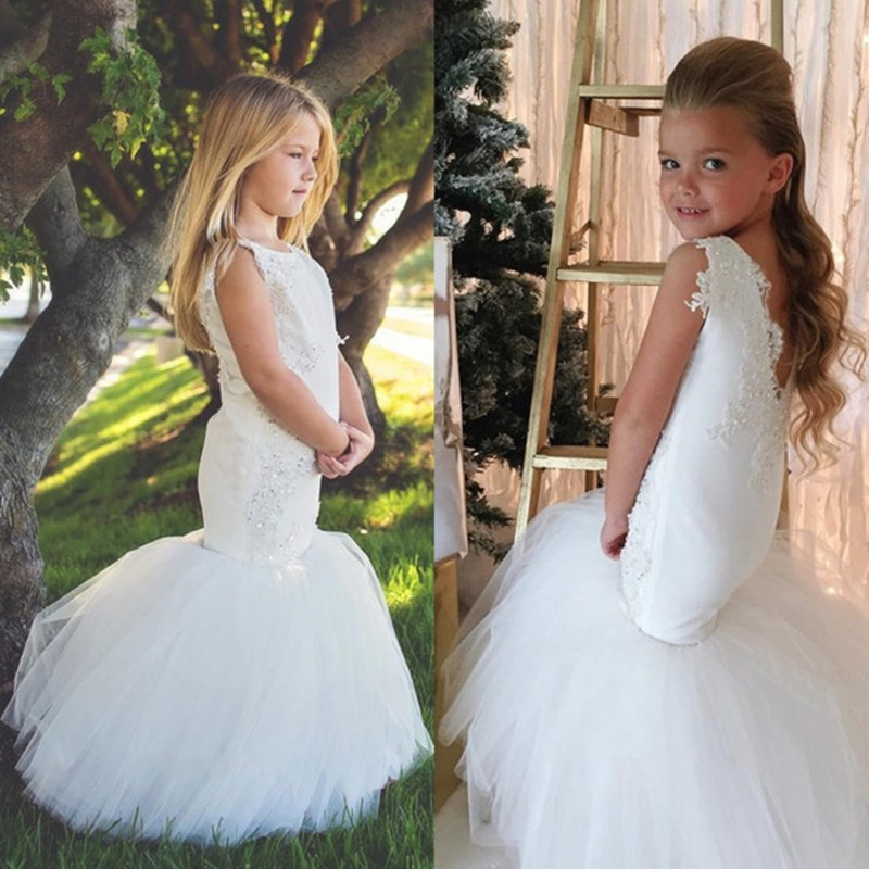 3639c6bb 2019 Mermaid Flower Girls Dresses for Wedding Party Trumpet Kids Little Girl  Pageant Communion Dresses Cute