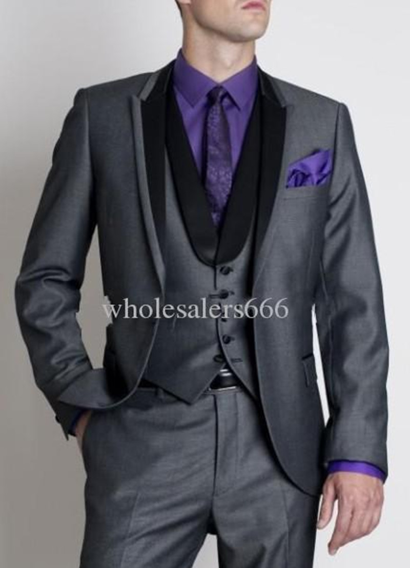 6f09efe15e Custom Made Groom Tuxedos Dark Grey Best Man Peak Lapel Groomsmen ...