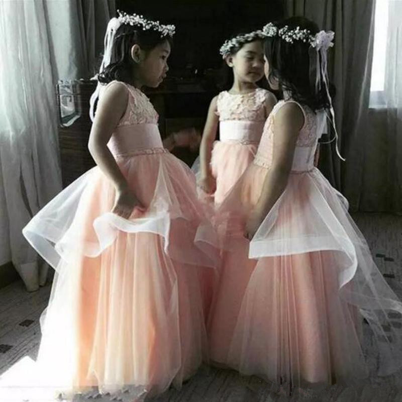 2019 Lovely Blush Pink Flower Girls Dresses Jewel Neck Sleeveless Lace Appliques Ruffles Tulle Floor Length Girl's Formal Gown for Wedding