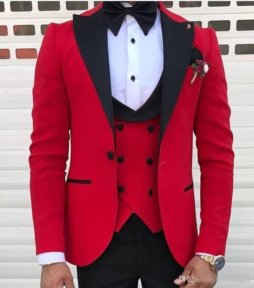 Red With Black Lapel Suits For Men Custom Made Terno Slim Groom Custom 3 Piece Wedding Mens Suit Mas On Luulla