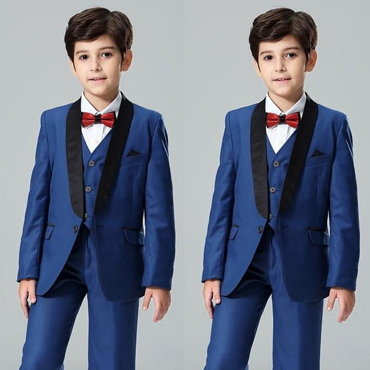 Navy Blue Boy's Formal Wear Shawl Lapel Kids Wedding Tuxedos One Button Flower Boys Suits Custom Made(Jacket+Vest+Pants)