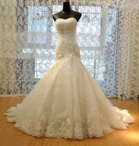 Bridal Gown Formal Beading Sweetheart Long Train Mermaid Lace Bridal Wedding Dresses Formal Floor Length xz26