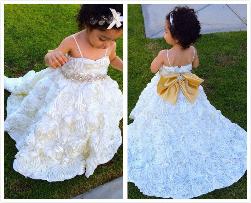 Formal Backless Spaghetti Strap Ball Gown Flower Girl Dresses Kids Wedding Party Dresses 0502-06