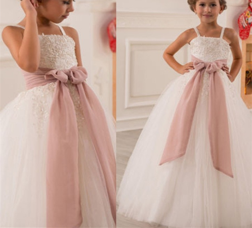 Spaghetti Strap Floor Length Flower Girl Dresses Children Birthday Dress Tulle Kids Wedding Party Dresses 1103-57